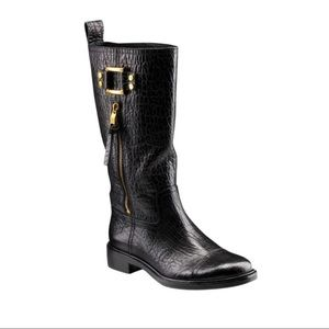 Tory Burch Stowe Moto Leather Gold Buckle Accent Side Zip Calf Height Boots 9M